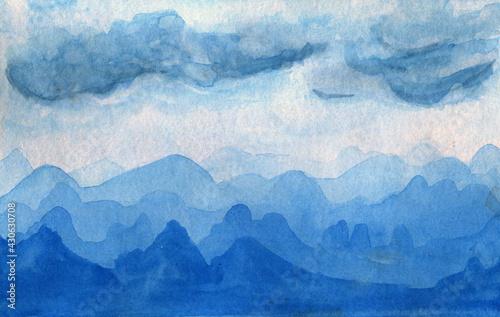 Foto Sfondo montagne azzurre, velatura acquerello