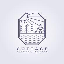 Wooden Cabin Forest Camp Logo Vector Icon Line Art Simple Illustration Design Frame Logo Badge Emblem Cottage