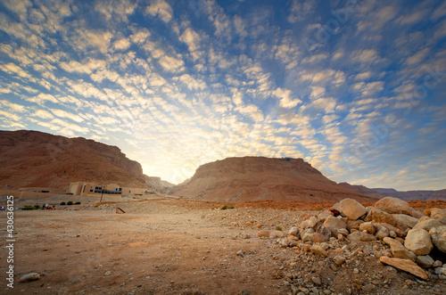 Masada, Israel ancient rock plateau fortress in the Judaean Desert - fototapety na wymiar
