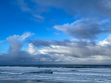 A Late Afternoon Threatening Sky Over The Pacific Ocean At Depoe Bay On The Oregon Coast.
