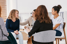 Women With Issues Supporting Together During Group Therapy