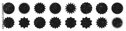 Black shopping labels with grunge texture. Vintage sale or discount sticker. Special offer price tag. Supermarket promotional badge. Vector sunburst icon. - fototapety na wymiar
