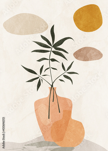 Obraz Botanical abstract art, watercolor, earth, nature, leaves and flowers, beige and brown tones - fototapety do salonu