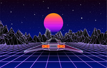 Arcade Space Ship Flying To The Sun Over The Landscape With 3D Mountains, 80s Style Synthwave Or Retrowave Illustration.