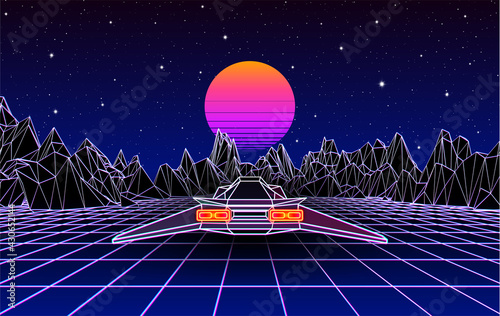 Obraz na plátně Arcade space ship flying to the sun over the landscape with 3D mountains, 80s style synthwave or retrowave illustration