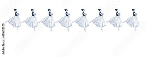 Billede på lærred Banner vintage con ballerine classiche isolate su sfondo bianco