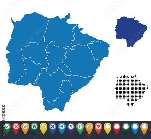 Fotografia, Obraz Set maps of Mato Grosso do Sul state