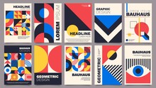 Geometric Posters. Bauhaus Cover Templates With Abstract Geometry. Retro Architecture Minimal Shapes, Forms, Lines And Eye Design Vector Set