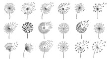 Blowing Dandelion Seeds. Silhouettes Of Fluffy Wish Flowers, Spring Blossom Dandelions Blown By Wind. Nature Floral Logo Design Vector Set