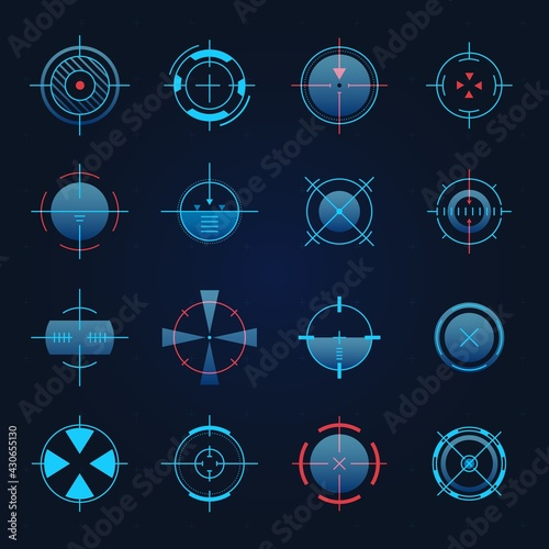 Futuristic aim. Spaceship or sniper weapon focus on target for game hud. Digital hologram crosshair, radar or camera viewfinder vector set - fototapety na wymiar