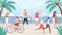 People Walk On Sea Quay. Family And Couple Tourist At Vacation Look At Sail Boats. Seaside Summer Travel In Tropic Shore Flat Vector Concept