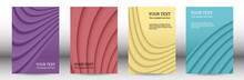 Cover Designs Set. Background With Abstract Volumetric Gradient Of Linear Waves, Fabric Folds For Creating A Trendy Banner, Poster