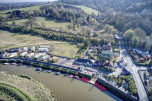 Aerial Of Amberley On The Banks Of The River Arun In West Sussex In A Scenic Position Within The South Downs.