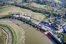 Aerial View Of Amberley On The Banks Of The River Arun In West Sussex In A Scenic Position Within The South Downs.