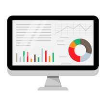 Computer Screen With Business Graph Data, Analysis Trends, Financial Strategy, Statistics, And Infographic Chart Icons. Vector Illustration.