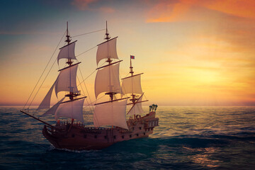 Red Wooden Vintage Tall Sailing Ship, Caravel, Pirate Ship or Warship in Open Ocean. 3d Rendering