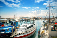 Boats Anchored In A Marina In Greece