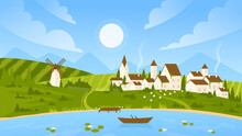 Summer Sunny Day Landscape Vector Illustration. Cartoon Countryside Village Scenery With Farm Houses On Green Hills And Farmland Fields, Wind Mill, Boat In Calm Lake, Summer Scene In Europe Background
