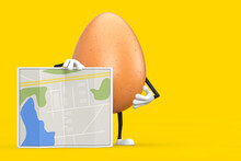 Brown Chicken Egg Person Character Mascot With Abstract City Plan Map. 3d Rendering