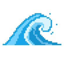 Sea Pixel Wave Icon. Powerful Blue Tsunami Rushing Shore Huge Storm Waves With White Foam And High Stream For Successful Vector Surfing.