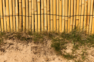 Banboo sticks used as a wall at a sandy beach..