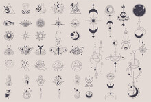 Mystical Elements In A Fine Line. Magical Contour Icons Magic And Witchcraft, Witchy Esoteric Alchemy, Hand-drawn Doodles Minimalistic Symbol And Mysterious Objects. Flat Isolated Vector Illustration