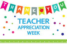 "Teacher Appreciation Week School  Banner. Garland Of Colored Flags, Text ""thank You"", Apple, Ruler On A White Background, Vector."