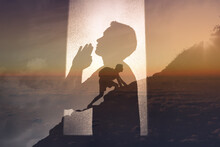 Young Man Praying To God For Strength And Courage Through Hard Difficult Times. Religious Belief Concept.