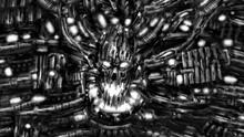 Dark Robot Skull Screaming. Black And White Illustration. Sci-fi Horror Genre. Scary Fiction Background. Burnt Bones In Ash And Dirt. Gloomy Character Concept Art. Coal Noise Effect. Fantastic Theme.