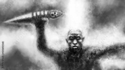 Fotografie, Obraz Dark monk raises ritual dagger above his head