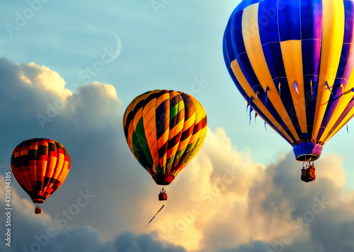 Photographie Three hot air balloons starting the adventure floating in formation into a beaut