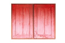 Old Wooden Window Frame Painted Red Vintage Isolated On A White Background