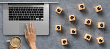 Dice With Cookie Icons And A Laptop Conceptual Of The GDPR Regulations Introduced By The EU Governing Data Collection And Privacy Of Information For Individuals Online.