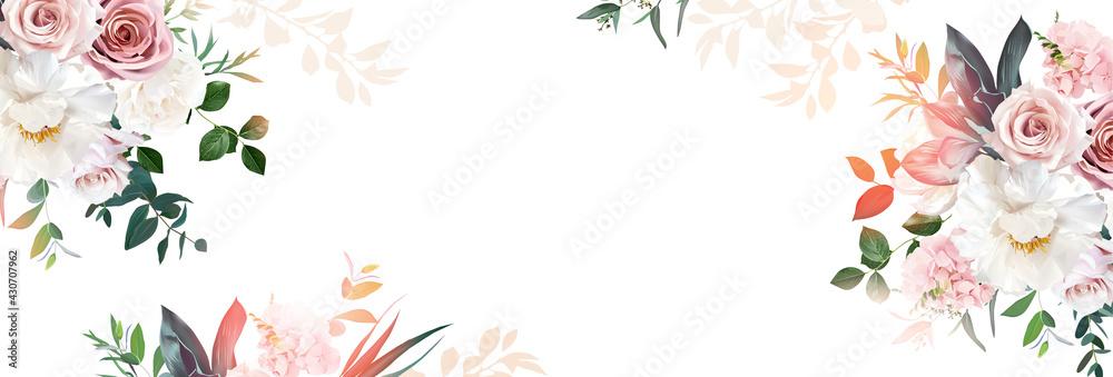 Obraz Floral banner arranged from leaves and flowers fototapeta, plakat