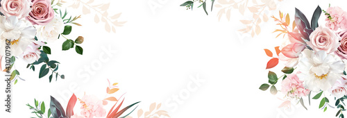 Canvas Print Floral banner arranged from leaves and flowers