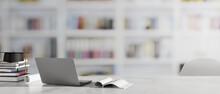 Graduation Concept, 3D Rendering, Study Table With Laptop, Books, Graduation Cap And Copy Space