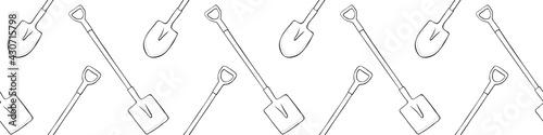 Fotografia Seamless pattern with garden shovels, spades, scoops