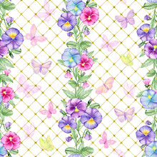 Pansies, Purple, Blue, Pink, Watercolor Seamless Pattern, Violet, Buds And Leaves, Butterflies On A Gold Background.