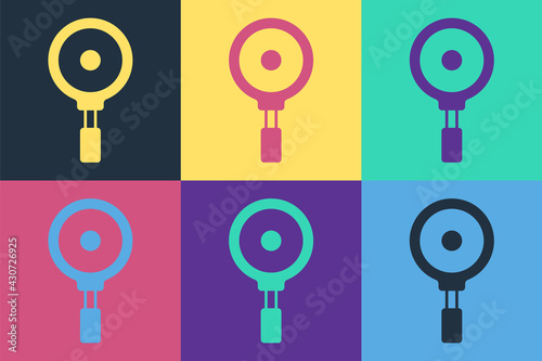 Pop art Frying pan icon isolated on color background Fototapeta