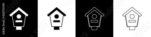 Fototapeta Set Bird house icon isolated on black and white background