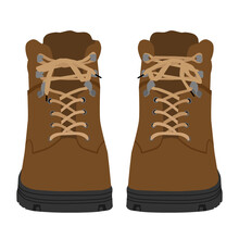 Brown Army Military Boots Isolated On White Background, Combat American Military Boots