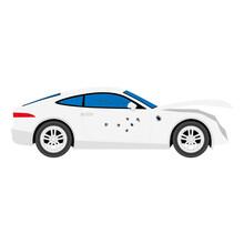 Vector Illustration. Broken And Damaged Car. Bullet Holes In Sport Car. Transport Criminal Accident