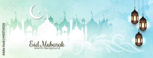 Fotografía Soft color Eid mubarak islamic banner design