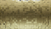 Gold, Square Wall Background With Tiles. 3D, Tile Wallpaper With Polished, Luxurious Blocks. 3D Render