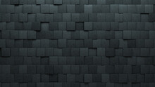 Semigloss Tiles Arranged To Create A Futuristic Wall. 3D, Square Background Formed From Concrete Blocks. 3D Render