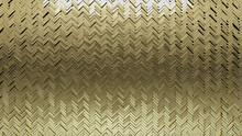 Herringbone, Gold Wall Background With Tiles. Polished, Tile Wallpaper With 3D, Luxurious Blocks. 3D Render