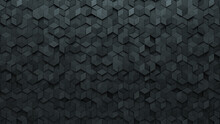 Concrete, Diamond Shaped Wall Background With Tiles. Futuristic, Tile Wallpaper With Polished, 3D Blocks. 3D Render