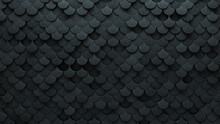 Futuristic, Fish Scale Wall Background With Tiles. Concrete, Tile Wallpaper With 3D, Polished Blocks. 3D Render