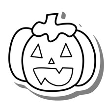 Black Line Cartoon Pumpkin On White Silhouette And Gray Shadow. Icon Emoji For Decoration Or Any Design. Vector Illustration Of Halloween Day.