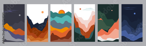 vertical abstract wavy shapes mountain and hills night  landscapes collection, vector illustration scenery in earthy color palette - fototapety na wymiar